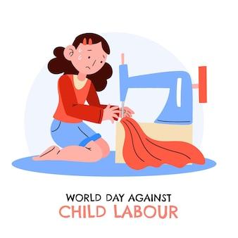 Ręcznie rysowane światowy dzień przeciwko ilustracji pracy dzieci