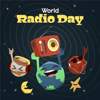 Ręcznie rysowane światowy dzień radia w tle z planetami