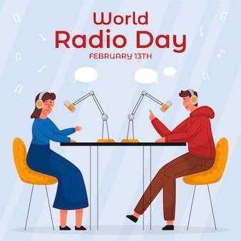 Ręcznie rysowane światowy dzień radia z ludźmi i mikrofonami