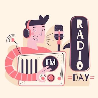 Ręcznie rysowane światowy dzień radia
