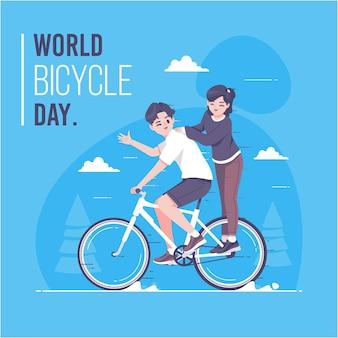 Ręcznie rysowane światowy dzień roweru