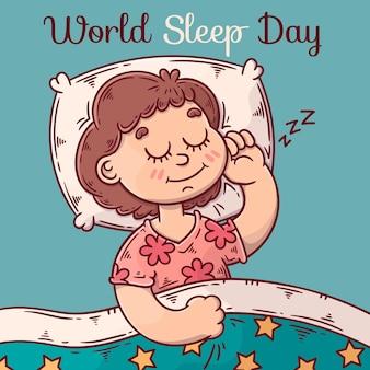 Ręcznie rysowane światowy dzień snu ilustracja z kobietą do spania
