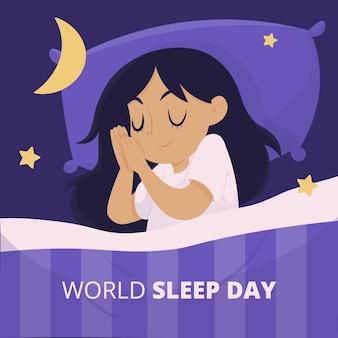 Ręcznie rysowane światowy dzień snu ilustracja z kobietą