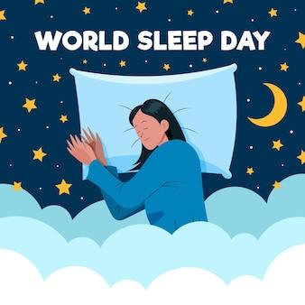 Ręcznie rysowane światowy dzień snu ilustracja z odpoczywającą kobietą