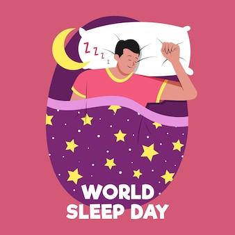 Ręcznie rysowane światowy dzień snu ilustracja z odpoczywającym człowiekiem