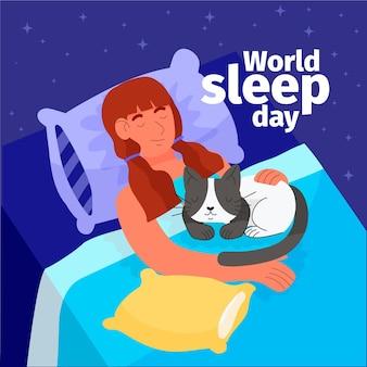 Ręcznie rysowane światowy dzień snu ilustracja ze śpiącą kobietą i kotem