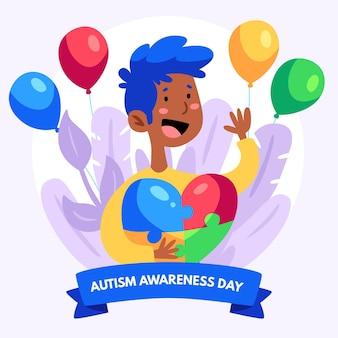 Ręcznie rysowane światowy dzień świadomości autyzmu ilustracja