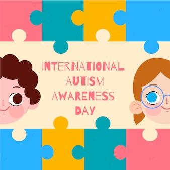 Ręcznie rysowane światowy dzień świadomości autyzmu z puzzlami