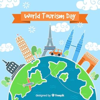 Ręcznie rysowane światowy dzień turystyki