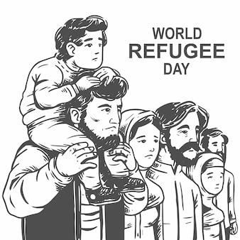 Ręcznie rysowane światowy dzień uchodźcy z ojcem i synem wektor swobodny