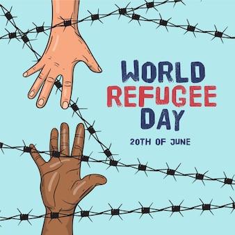 Ręcznie rysowane światowy dzień uchodźcy
