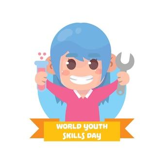 Ręcznie rysowane światowy dzień umiejętności młodzieży ilustracja
