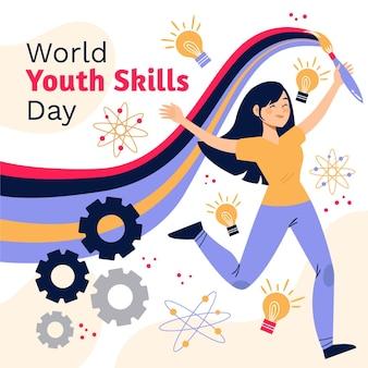 Ręcznie rysowane światowy dzień umiejętności młodzieży