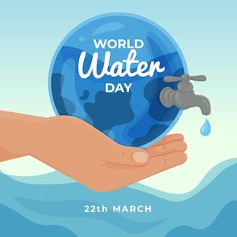 Ręcznie rysowane światowy dzień wody ilustracja z ręki trzymającej planetę z kranu