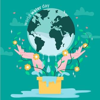 Ręcznie rysowane światowy dzień wody z planetą i kwiatami