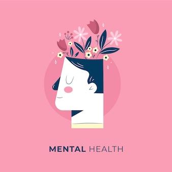 Ręcznie rysowane światowy dzień zdrowia psychicznego z głową i kwiatami