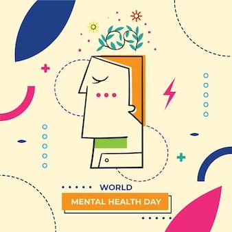 Ręcznie rysowane światowy dzień zdrowia psychicznego z głową i liśćmi