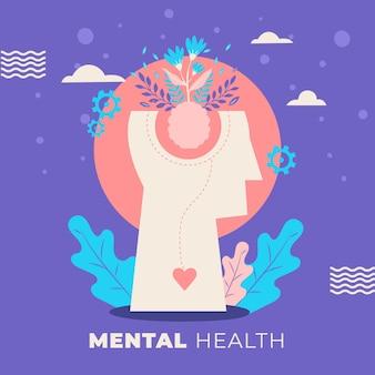 Ręcznie rysowane światowy dzień zdrowia psychicznego z głową i roślinami
