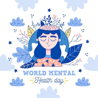 Ręcznie rysowane światowy dzień zdrowia psychicznego z kobietą