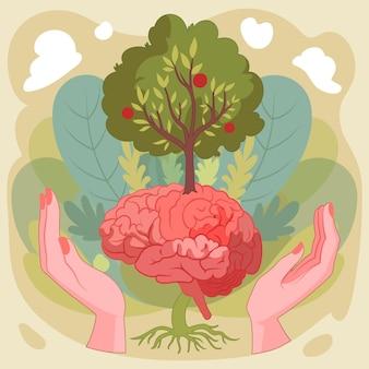 Ręcznie rysowane światowy dzień zdrowia psychicznego z mózgiem i drzewem