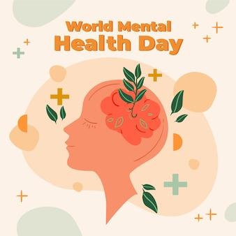 Ręcznie rysowane światowy dzień zdrowia psychicznego z mózgiem i liśćmi