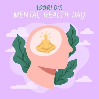 Ręcznie rysowane światowy dzień zdrowia psychicznego