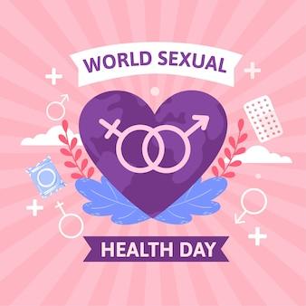 Ręcznie rysowane światowy dzień zdrowia seksualnego w tle
