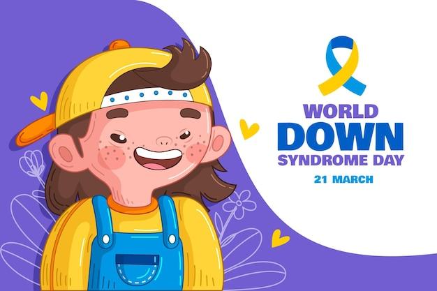 Ręcznie rysowane światowy dzień zespołu downa