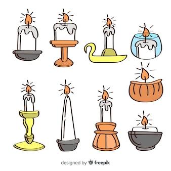 Ręcznie rysowane świeca kolekcji