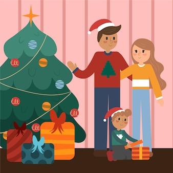 Ręcznie rysowane święta rodzinna scena