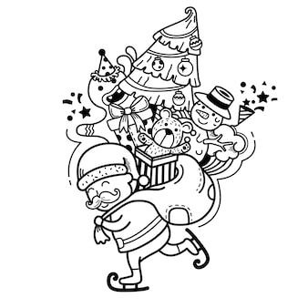 Ręcznie rysowane świętego mikołaja szczęśliwego nowego roku i wesołych świąt. ilustracja