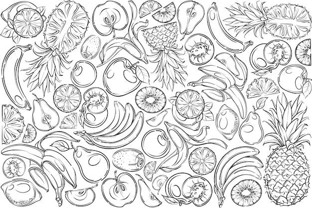 Ręcznie rysowane świeże owoce banan, ananas