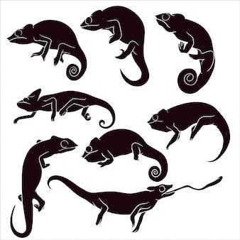 Ręcznie rysowane sylwetka kameleona