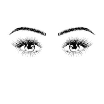 Ręcznie rysowane sylwetka kobiece oczy
