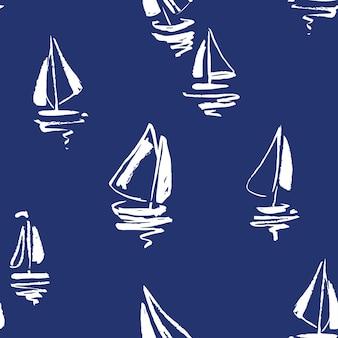 Ręcznie rysowane sylwetki jachtów żaglowych bez szwu wzór