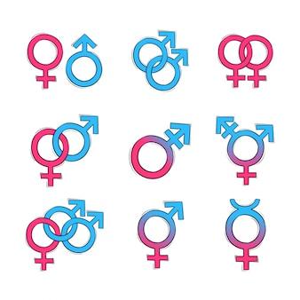 Ręcznie rysowane symbol płci