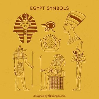 Ręcznie rysowane symbole egiptu i kolekcja bogów