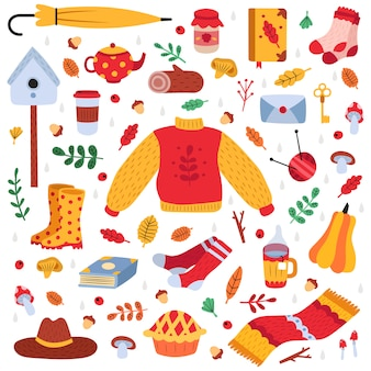 Ręcznie rysowane symbole jesień. jesienne liście, rośliny leśne, przytulne jedzenie, ciepłe ubrania i książki, zestaw ikon ilustracji ślicznych elementów jesieni. pieczarka i liść, bania i parasol