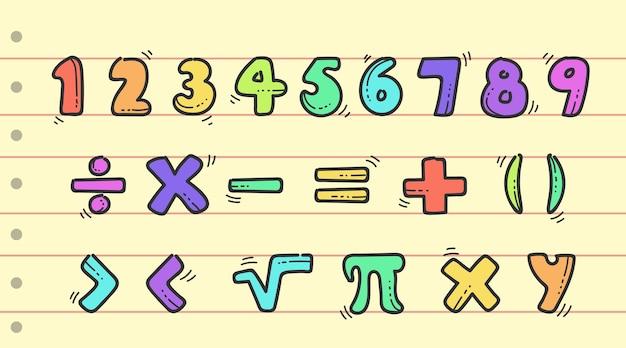 Ręcznie rysowane symbole matematyczne i cyfry