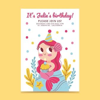 Ręcznie rysowane syrenka urodziny zaproszenie