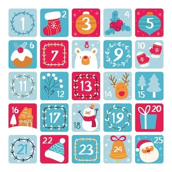 Ręcznie rysowane szablon adwentowy kalendarz