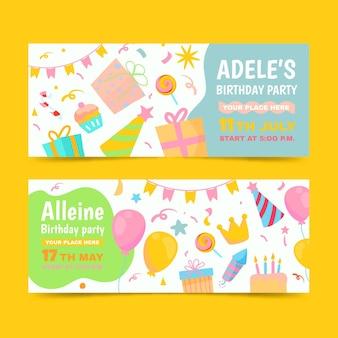 Ręcznie rysowane szablon banerów urodzinowych