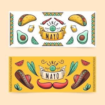 Ręcznie rysowane szablon banery cinco de mayo
