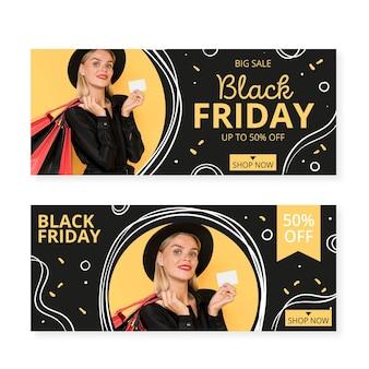 Ręcznie rysowane szablon banery czarny piątek