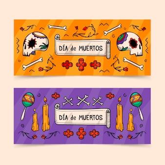 Ręcznie rysowane szablon banery dia de muertos