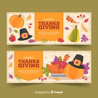 Ręcznie rysowane szablon banery dziękczynienia