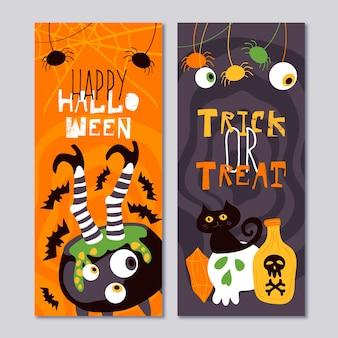 Ręcznie rysowane szablon banery halloween