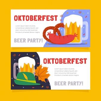 Ręcznie rysowane szablon banery oktoberfest