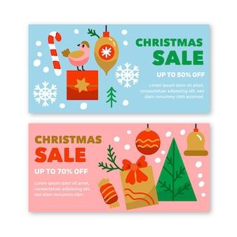 Ręcznie rysowane szablon banery sprzedaż świąteczna