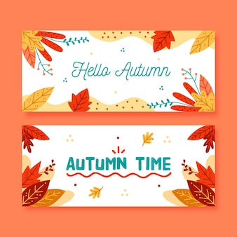 Ręcznie rysowane szablon banery sprzedaży jesień
